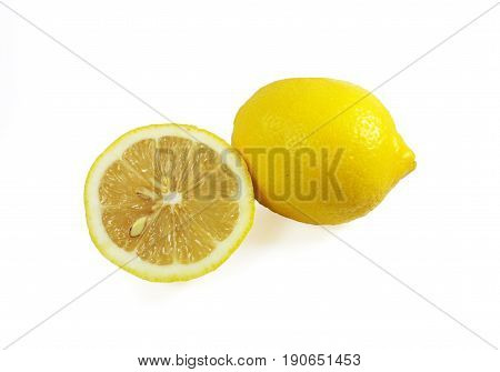 Fresh ripe lemons isolated on white background,Lemon in a cut,Half of lemon.