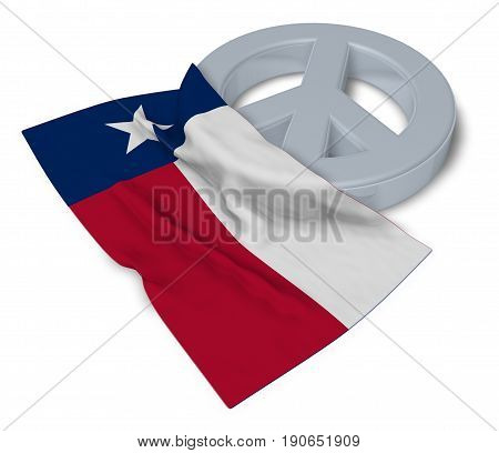 peace symbol and flag of texas - 3d rendering