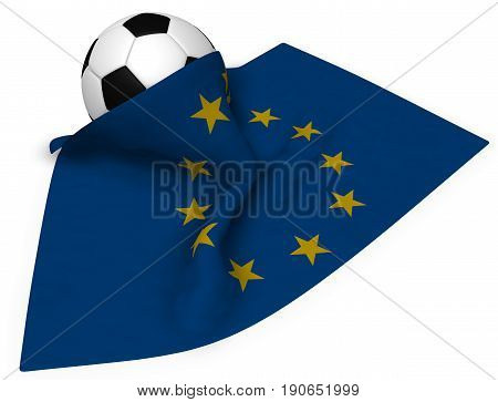 soccer ball and flag of the european union - 3d rendering