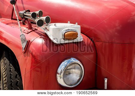 Front view of an old fire truck