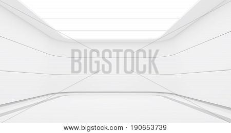 Empty white room modern space interior 3d rendering image.A blank wall with pure white. Decorate with horizon line pattern