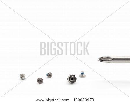 Close-up image of small screw and screwdriver isolate on white background with copy space Shallow depth of field Selective focus