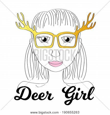 Girl in deer horn glasses. Boho style fashionista girl print. Deerhorn thin line vector illustration. Golden glitter glasses fashion poster. Elk horn glasses design. Funny young woman smiling drawing