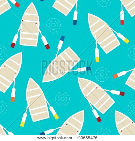 Floating boat Vector illustration Seamless pattern Rowing boat with red, blue, yellow and burgundy oars on a blue background Flat design
