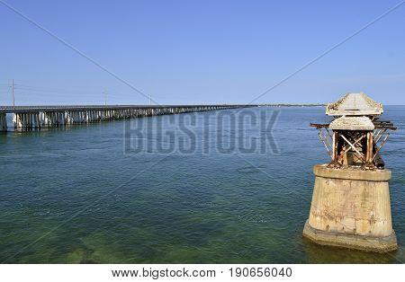 Bahia Honda Key Florida Keys Florida USA - May 15 2017 : Bahia Honda road and Rail Bridge an abandoned bridge in the lower Florida Keys