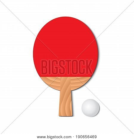 Set for playing ping-pong. Red racket and a ping-pong ball. Vector illustration.