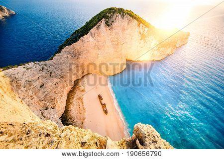 Sunrise on Navagio. Shipwreck bay, Zakynthos island, Greece. Panorama.