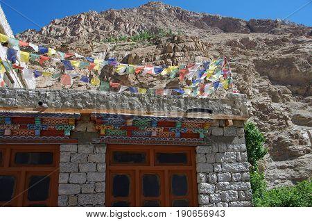 Tradiional house near Kargil in Ladakh, India