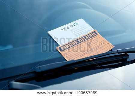 Parking Violation Ticket Fine On Windshield