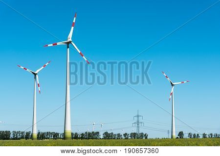 Wind energy plant seen in rural Germany