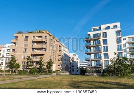 Modern white and brown apartment houses in Berlin, Germany