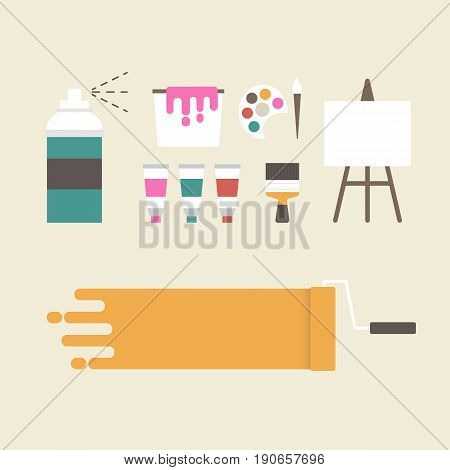 painter artist's equipment with blank space, retro style