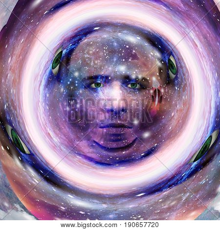 Surreal digital art. Mans head with stars and clouds. Abstract background.  3D rendering    Some elements provided courtesy of NASA