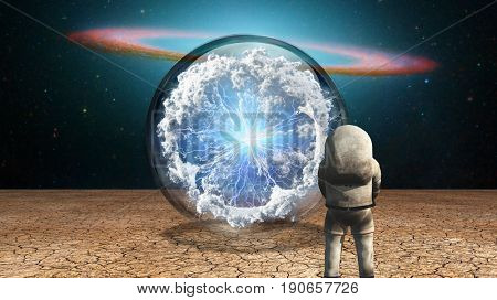 Surrealism. Astronaut stands in arid land before crystal ball with electricity charge and clouds.  3D rendering  Some elements provided courtesy of NASA