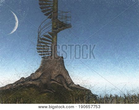 Surreal digital art. Tree is circular stairs.  3D rendering  Some elements provided courtesy of NASA