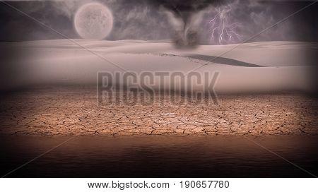 Surreal digital art. Desert shore. Tornado and lightning. Full moon at the horizon.  3D rendering  Some elements provided courtesy of NASA