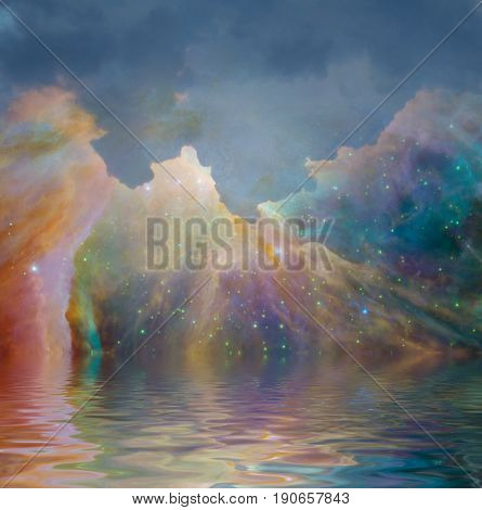 Surrealism. Colorful nebula over water surface.  3D rendering   Some elements provided courtesy of NASA
