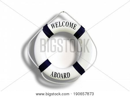 White Color Life Buoyancy With Welcome Aboard Isolated On White Background.