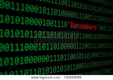 The Ransomware And Binary Code Concept Security And Malware Attack