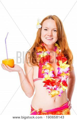 Red-haired Young Girl With A Glass Of Cocktail In Hawaii Lei And Bikini Isolated