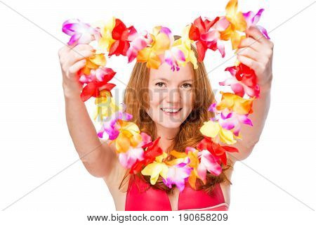 Happy Woman Stretches Floral Lei For A Holiday In Hawaii