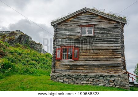 Traditional ancient wooden norwegian loghouse in Trondheim