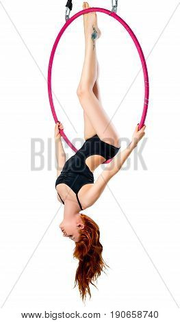 Woman In An Airy Ring Hanging Upside Down On A White Background