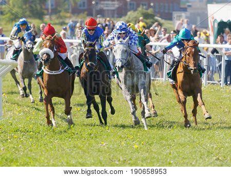 STOCKHOLM SWEDEN - JUNE 06 2017: Jockeys on gallop arabian race horses storming ahead at Nationaldags Galoppen at Gardet. June 6 2017 in Stockholm Sweden