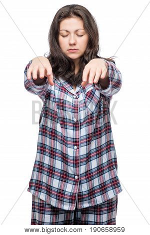Sleepy Woman Wanders Around The House In A Sleepwalking State, Portrait In Pajamas On A White Backgr