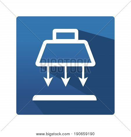 Industrial lamp buttom. Icon in trendy flat style isolated on blue background. Lamp symbol for your web site design, logo, app. Vector illustration, EPS10