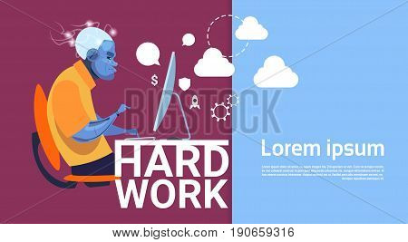 Robotic Business Man Working Computer Busy Hard Work Concept Banner With Copy Space Flat Vector Illustration