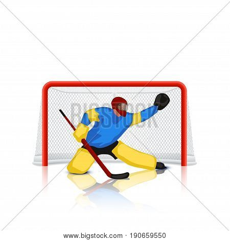 illustration of colored hockey goal keeper in red gates on white background with reflection