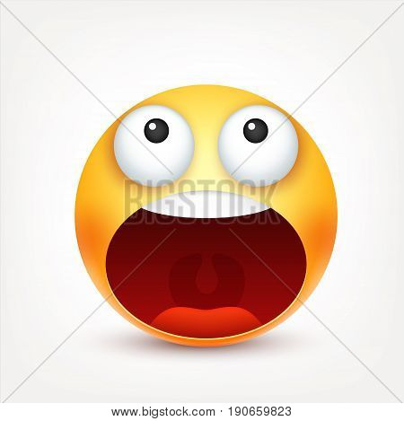 Smiley, emoticon. Yellow face with emotions. Facial expression. 3d realistic emoji. Funny cartoon character.Mood. Web icon. Vector illustration.