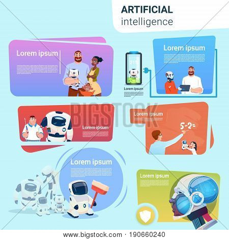 Robot Helping People Set Assistance Applications Artificial Intelligence Concept Collection Flat Vector Illustration