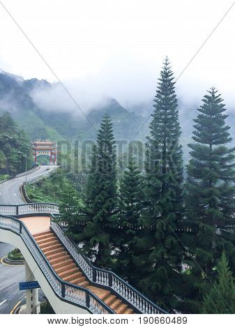 GGenting Highlands Malaysia - AUGUST 14 2016 Road to Buddha Statue at Chin Swee Temple Landscape between the way to Genting highland It's big forest and plentiful . It's a good weather Full of the mist.
