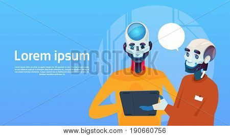 Chat Bot Robots Using Tablet Computer Virtual Assistance Element Of Website Or Mobile Applications Artificial Intelligence Concept Flat Vector Illustration