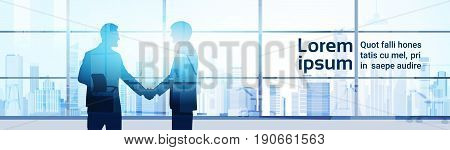 Two Silhouette Businessman Hand Shake, Business Man Handshake Agreement Concept Modern Office Background Flat Vector Illustration