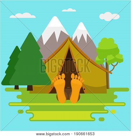 Weekend or Camping morning. Man is sleeping in a tent and his legs are out of tent. Summer landscape nature with mountain and trees.