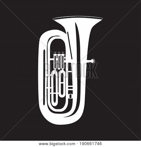 White tuba isolated on black background vector illustration. Wind brass musical instrument in flat style.