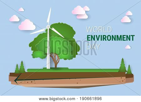 Nature Landscape With Wind Turbine World Environment Day Ecology Protection Holiday Greeting Card Flat Vector Illustration