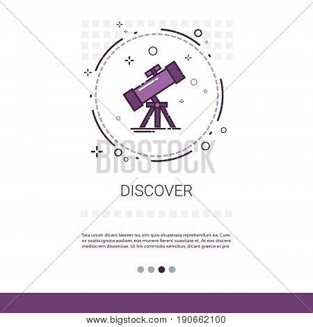 Discover Telescope Astronomy Science Web Banner With Copy Space Vector Illustration