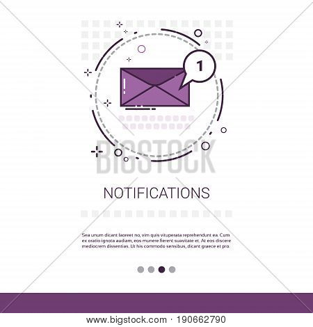 Notification Envelope Email Inbox Message Send Mail Web Banner With Copy Space Vector Illustration