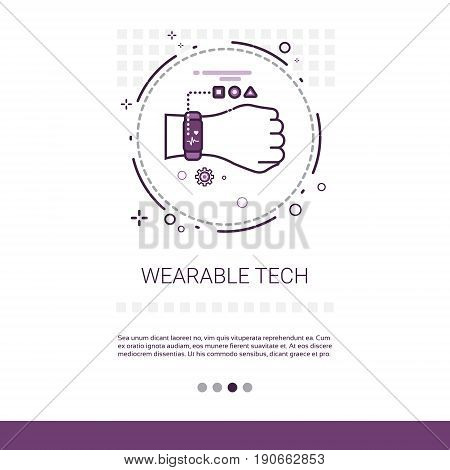 Wearable Tech Smart Watch Technology Electronic Device Web Banner With Copy Space Vector Illustration
