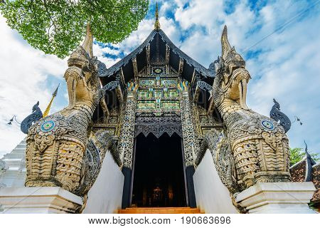 Front entrance at Wat Chedi Luang temple , Chiang Mai, Thailand