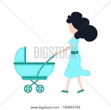 Young beauty mother mom with child baby in a stroller. Vector flat cartoon character illustration modern syle icon design. Isolated on white background