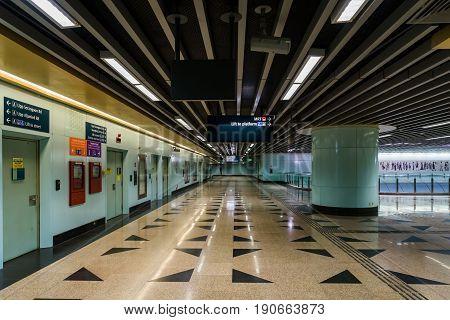 No People At The Mass Rapid Transit Station (mrt) Singapore