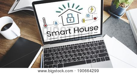 Illustration of smart house invention automation technology on laptop
