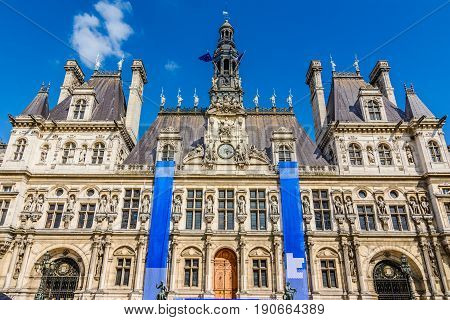 Street view of Hotel de Ville or City Hall in Paris, France