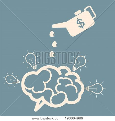 Concept of investment. Monetary motivation of new ideas. Oiler and brain. Vector.