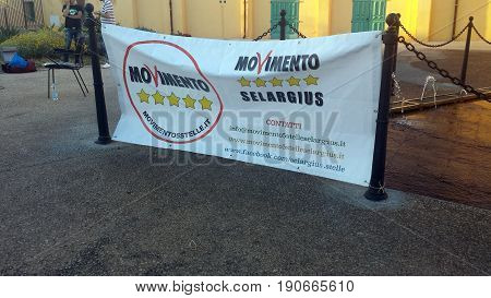 Selargius, Italy - 09 June 2017: Political Flag With Logo Of The Italian Party Called Movimento 5 St